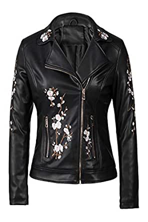 Bellivera Faux Leather Jackets for Women,Soft Casual Short Floral Moto Coat for Spring Fall and Winter