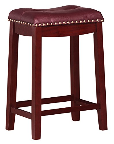 Angel Line Cambridge Padded Saddle Stool, Cherry with Dark Red Cushion, 24
