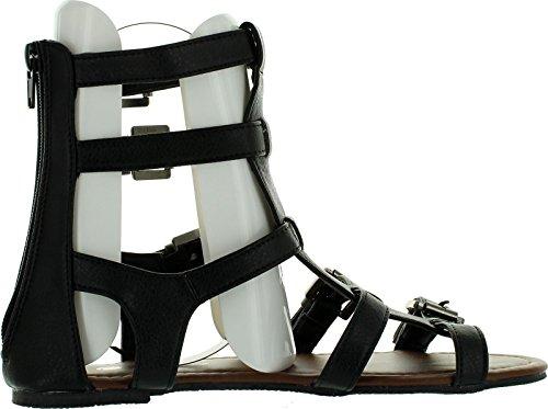 Chatties Dames 10 Sandalen Gladiator Sandalen Met Multi Gespriempjes 6405 Zwart