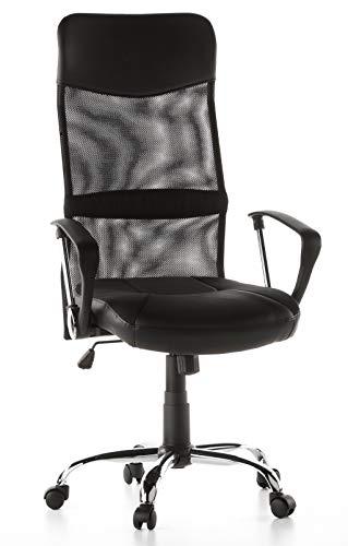 hjh OFFICE 668010 silla de oficina ARTON 20 tejido de malla/piel sintetica negro silla escritorio