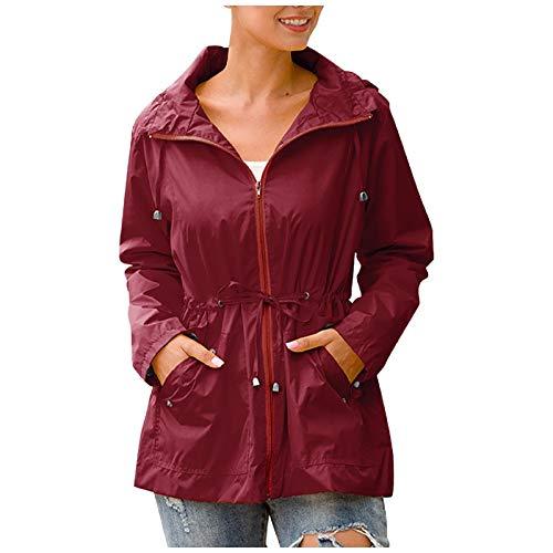 Morecome Coat Women Rain Jacket Waterproof Zip Up Trench Raincoat Hooded Lightweight Solid Pocket Outwear for Outdoor Active