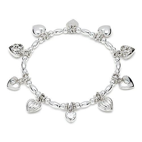 ANNIE HAAK Oooodles des coeurs Bracelet à breloques en argent à la main perlé 925 Sterling Silver Stackable Strand Taille 17cm