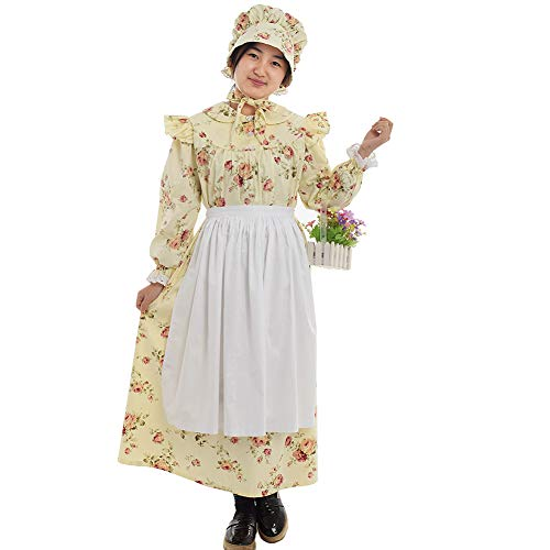 GRACEART Pioneer Girls Dress Colonial Prairie Costume 100% Cotton (6 colors option) (US-12, Yellow) (Childs Prairie Dress)