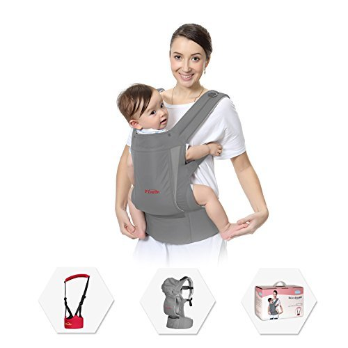 Best Baby Carrier Set, Included a Baby Walker, New Ergonomic Design in M Style, 5-in-1 Convertible Grey Child Carrier for Man or Woman, Especially Comfortable for Toddler and Parent by PLYRFOCE