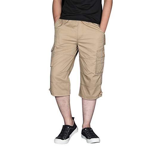 LUCAMORE Men's Casual Cargo Shorts Below Knee Loose Fit Multi-Pocket Capri Long Shorts Khaki