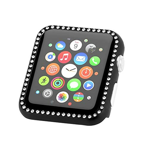 Price comparison product image BabiQ for Apple Watch 4 44mm Sport Crystal Aluminum Case Protective Frame Bumper Cover (Black)