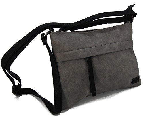 Stefano - Bolso al hombro para mujer Negro M4 grau/schwarz Maße ca. 33 x 35 x 10,5 cm M2 Grau/Schwarz