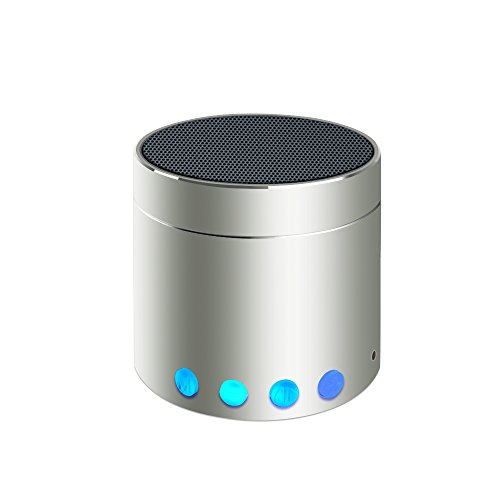 Bluetooth Speakers SEALVIA Wireless Speaker Mini size with Enhanced Bass and Noise-Cancelling Microphone for iPhone6/6S/7/7S android phone iPad Samsung Nexus HTC Laptops (more colors) KT8 (Silver)