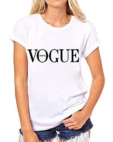 (FV RELAY Womens Black Short Sleeve Letter Print T-Shirt Casual Teen Girls Tee Tops (S, White))