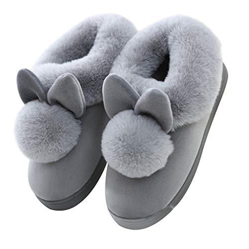 36 1 Femme Lapin Coton Scrox Paire en Chaussons européenne Pantoufles Gris à Hiver du Modélisation 37 Taille Automne Fourrure Peluche Accueil Slippers Chaussures wdd1q6