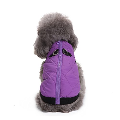 Neck Puffer - SELMAI Warm Soft Cold Weather Small Dog Cat Vest Jacket with D-Ring Zipper Pet Puppy Puffer Coat Doggie Winter Apparel Purple M