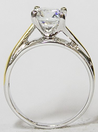 RS Covenant Women s Rhodium Plated Dress Ring Two Tone Round Cut Solitaire CZ 099