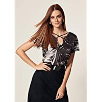 BLUSA FILETES ESTAMPA NIGHT PALM