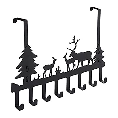 "DIRUISHEN Over Door Hook Rack,Vintage Metal Deer Wall Hooks,Decorative Organizer Hooks for Clothes, Coat, Hat, Belt, Towels,Stylish Over Door Hanger for Home or Office Use (8 Hook,Black) - 8 metal hooks,size: 16.8"" (L) * 11.8"" (H). Fits doors 1.3""-1.77"" (3.3-4.5cm) thick.Product loads is 5 kg. Made from strong and durable steel, heavy duty for keys, hats, leashes, towels, robes, and more coats, backpacks without bending. No tools or screws needed. Can be used in two ways: over the door and wall mount. - entryway-furniture-decor, entryway-laundry-room, coat-racks - 412iVIZ09wL. SS400  -"