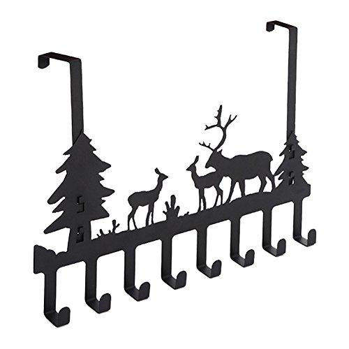 DIRUISHEN Over Door Hook Rack,Vintage Metal Deer Wall Hooks,Decorative Organizer Hooks for Clothes, Coat, Hat, Belt, Towels,Stylish Over Door Hanger for Home or Office Use (8 Hook,Black)