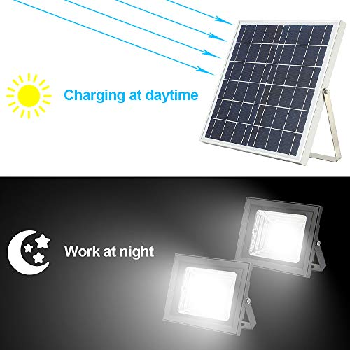 Solar Flood Light with Remote Control,Moresun 18W Dual 126 LEDs Lamp Solar Powered Flood Lights for Flag Pole Garden Lawn Patio Sign Driveway,Auto ON/Off by Moresun (Image #3)