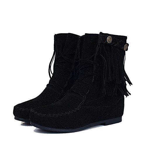 Zipper Toe Boots Imitated Black Closed Allhqfashion Heels Low Women's Suede Round fxwxXz8Yq