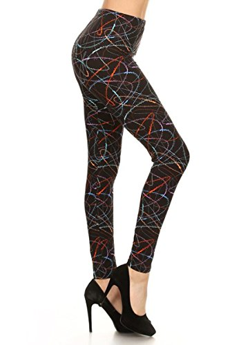 (R638-PLUS Multicolored Scribble Print Fashion Leggings)