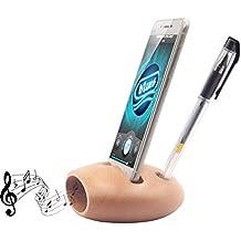 Blue Hole Sound Amplifier, Natural Beech Wooden Cell Phone Amplifier Dock with Pen Holder