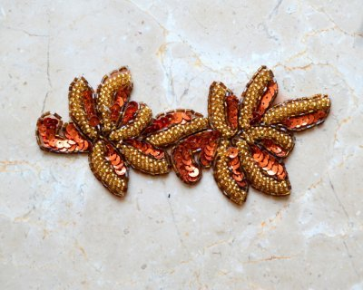 Duo Leaf Bead Sequin Applique by Shinetrim (Copper/Gold)