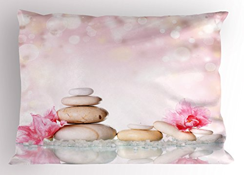 Ambesonne Spa Pillow Sham, Bohemian Zen Stones and Soft Petals Therapy Tradition Chakra Yoga Asian Picture, Decorative Standard Size Printed Pillowcase, 26 X 20 inches, Light Pink Peach by Ambesonne