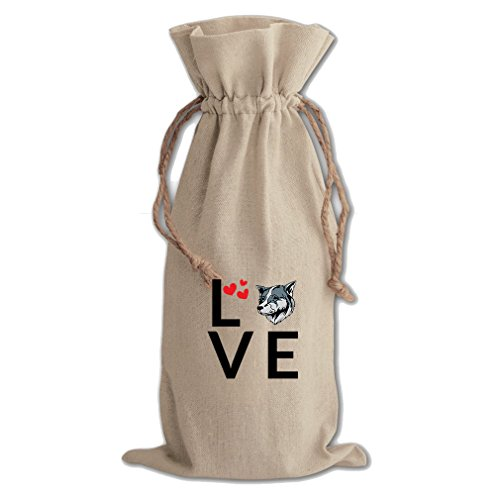 Canvas Wine Drawstring Bag Love Hearts Thai Bangkaew Dogdog Style In Print by Style in Print