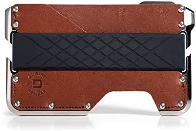 Dango D02 Dapper 2 EDC Wallet - Made in USA - Genuine Leather, Nickel-Plated CNC-Machined Aluminum, RFID Blocking, 2 Oz.