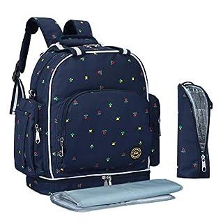 QIMIAOBABY Diaper Bag Smart Organizer Waterproof Travel Diaper Backpack Handbag with Changing Pad (Blue Flowers)