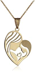 14k Yellow Gold Mother and Child Heart Pendant Necklace, 18""