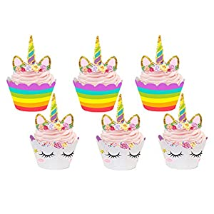 24 Pack Unicorn Cupcake Toppers and Wrappers Birthday Cake Decorations +2 Unicorn Masks for Unicorn Themed Party Baby Shower Supplies