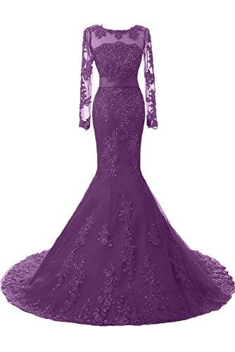 Toskana Braut - Vestido largo de noche para fiesta o boda, con encaje Lila-1