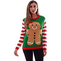 follow me Women's Ugly Christmas Sweater (Green Gingerbread Girl)