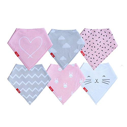 Mini Rabbit Mobile Phone - Baby Girl Bandana Bibs (6 Pack) | Bunny Set for Teething and Drool by oak + mini (Pink Gray Rabbit)