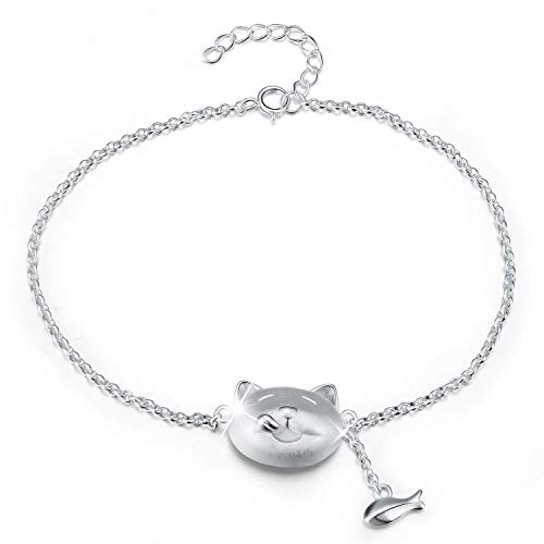 Lotus Fun S925 Sterling Silver Bracelet Lovely Greedy Cat And Fish Adjustable Bracelets with Chain length 6.5''-7.6'', Handmade Unique Jewelry for Women and Girls