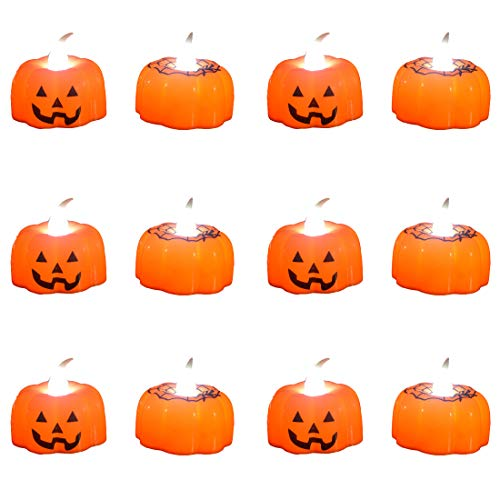 Pack of 12 Flameless Candles Christmas LED Light Battery Operated LED Pumpkin Light Perfect for Christmas Decorations (Pumpkin)