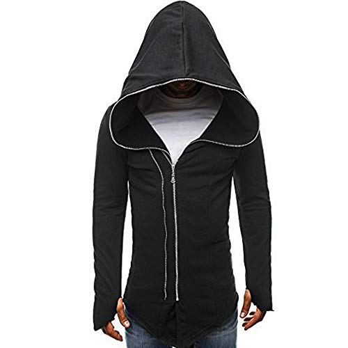 Mnyycxen Men's European Dark Cloak Hoodie, Assassin's Creed Zipper Long-Sleeved Hooded Sweater Pullover Sweatshirt Hoodie Coat Top (XL, Black)]()