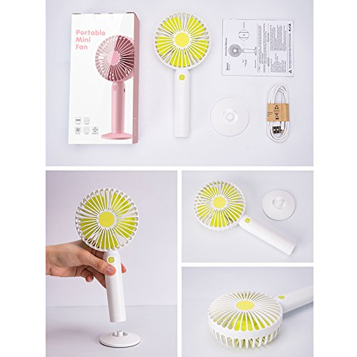 Swiss Crafts Portable Mini Fan, USB Rechargeable Battery Powered Handheld Fan with Base, 3 Step Speed, 5 Blades High Compatibility Mini Fan 2 SET, Pink