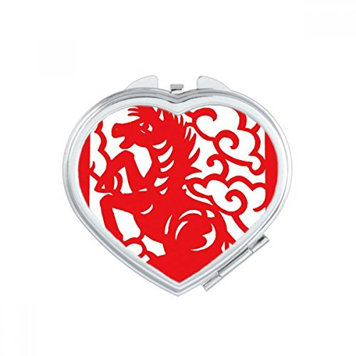 Paper-cut Horse Animal China Zodiac Heart Compact Makeup Mirror Portable Cute Hand Pocket Mirrors Gift by DIYthinker