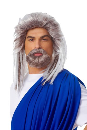 Costume Culture Mens King Of The Sea Wig and Beard Set Deluxe, Grey, One Size