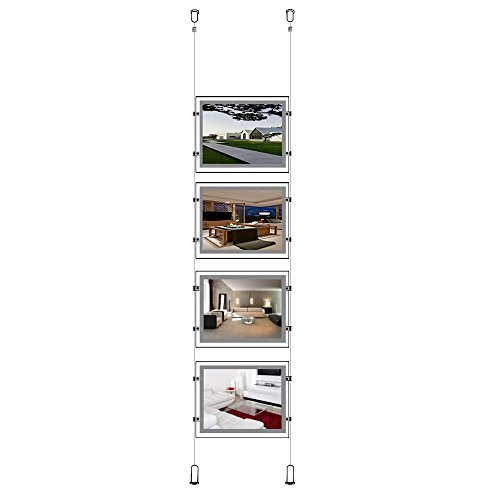 Real Estate Led - A4 (Landscape) LED Display for Real Estate Window Sign Holder (4pcs for a Column)