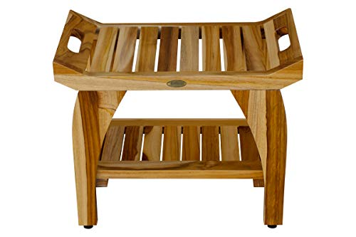 Teakwood Color - EcoDecors Tranquility Shower Bench, Natural