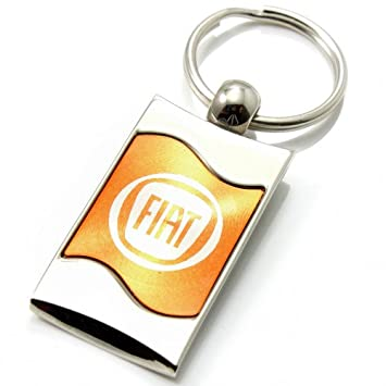 Prima Chrome Spun Ola Naranja Fiat logo Llavero Anillo Fob ...