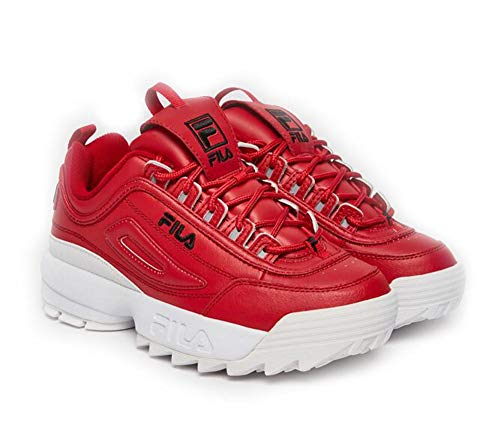 - Fila Women's Disruptor II Premium Sneakers, Fila Red/Black/White, 8 M US