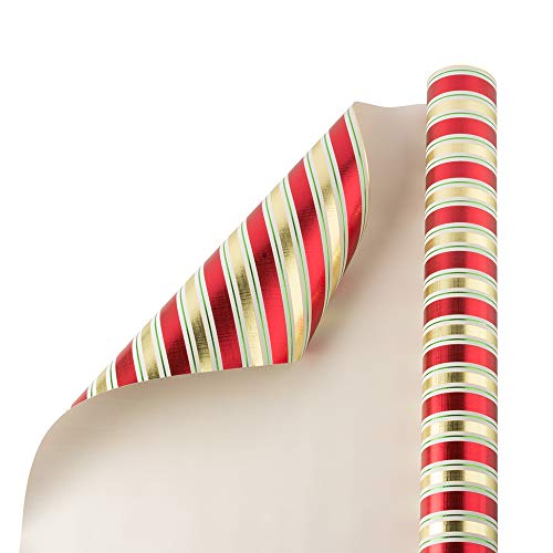 JAM PAPER Gift Wrap - Christmas Wrapping Paper - 25 Sq Ft - Red & Gold Embossed Stripes - Roll Sold Individually (Stripe Wrap Gift Christmas)