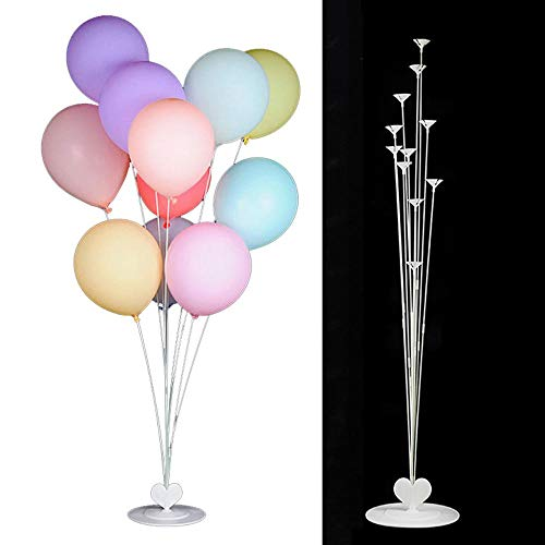 Volwco Balloon Stick Holder with 21 Poles 12 Cups and 1 Base, 41 Inch Height Reusable Plastic Table Desktop Centerpiece Heart Balloon Support Holders for Wedding/Birthday Party Decorations (47 PCS) -
