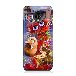 MOTO E5 PLUS TPU Silicone Protective Case with Adorable Cute Cats Design