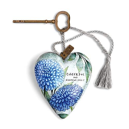 DEMDACO November Cheerful Floral Blue 4 x 4 Resin Stone Collectible Art Heart Figurine ()