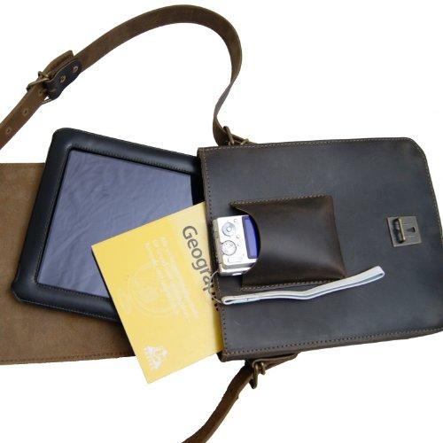 Friare från Maltahn axelväska för surfplattor, iPad väska ARISTOTELES av brunt läder, Made in Germany, inklusive lädervård