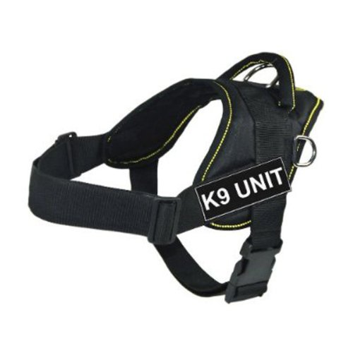 DT Fun Works Harness, K9 Unit, Black With Yellow Trim, Large - Fits Girth Size: 32-Inch to 42-Inch by Dean & Tyler