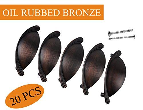 Black Bin Cup Dresser Pulls Oil Rubbed Bronze Finish with 76MM 3 in Hole Distance for Bathroom Dresser Drawers,20 PCS,XJPLZ118976ORB-20PAMZ